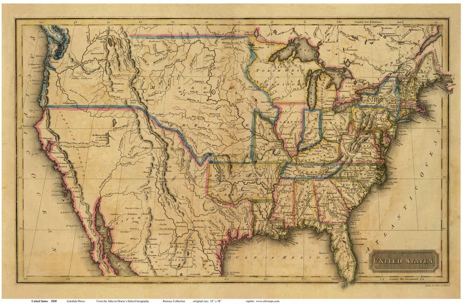 Antiguo Mapa De Estados Unidos Mapa De Viejo Estados Unidos América Del Norte América
