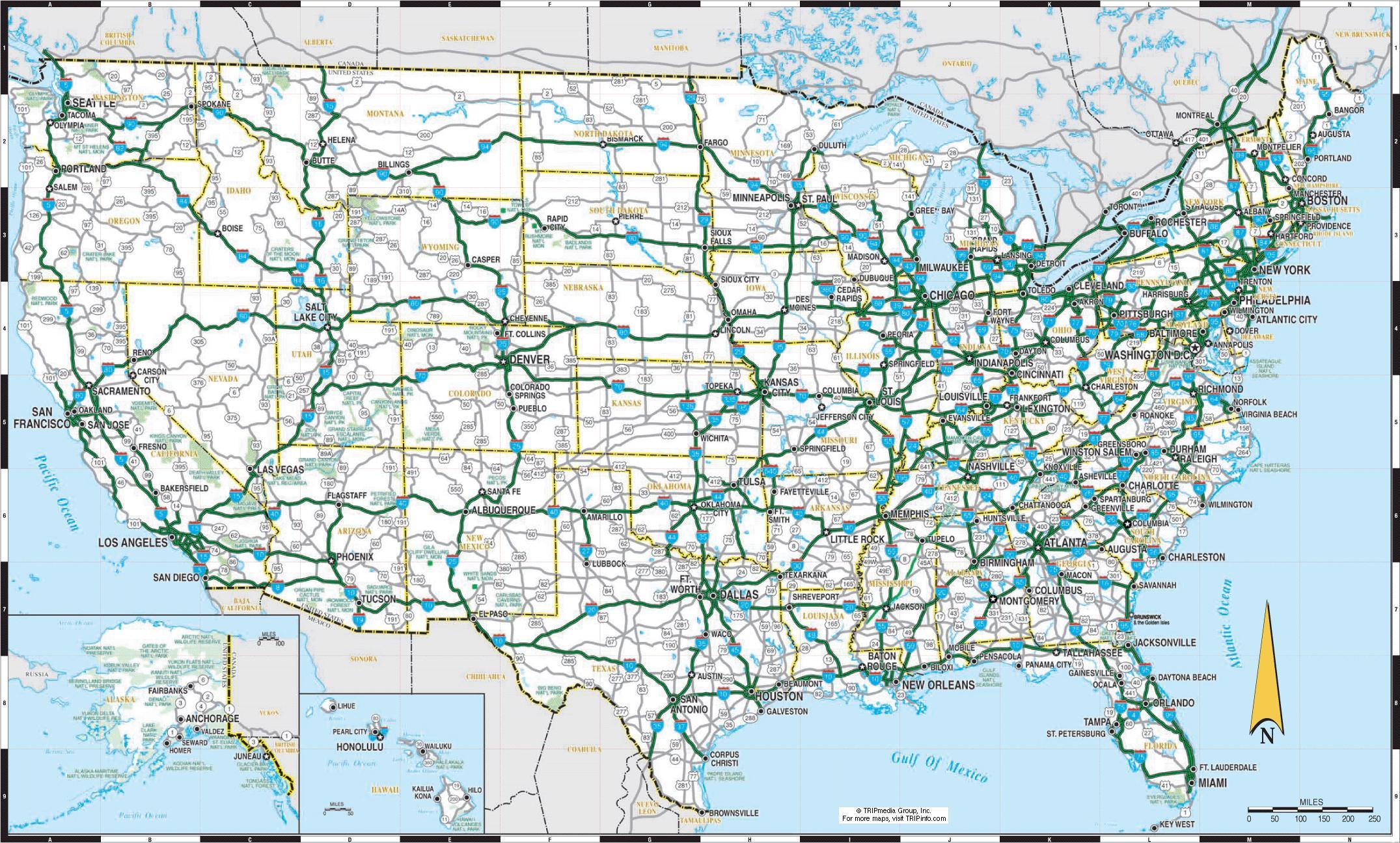 Estados Unidos Mapa De Carretera Con Las Ciudades Mapa De